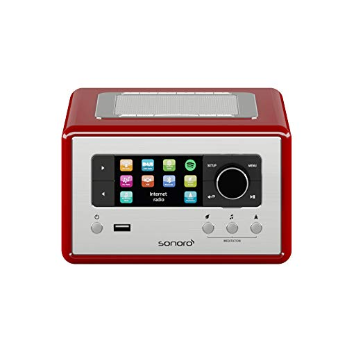 sonoro Relax Radio-Wecker (UKW/FM/DAB/DAB+/WLAN, AUX-in, Bluetooth, Spotify Connect, Meditationsmusik) Rot - Musikanlage Schlafzimmer