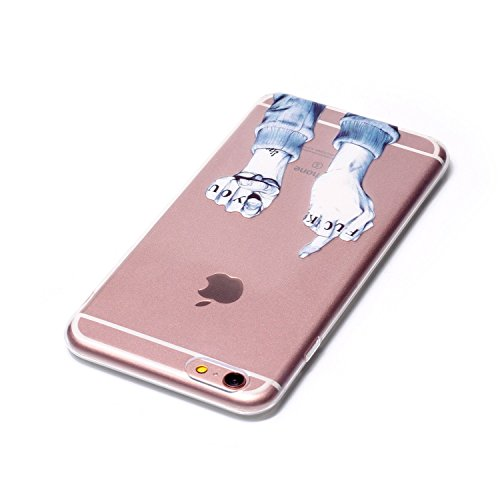 Etsue TPU Schutzhülle für iPhone 6s Plus/iPhone 6 Plus Ultra Dünn Crystal Silikon Handyhülle Case Cover, iPhone 6s Plus/iPhone 6 Plus Kristall Klar Durchsichtig Handytasche TPU Silikon Transparent Cle Junge Finger