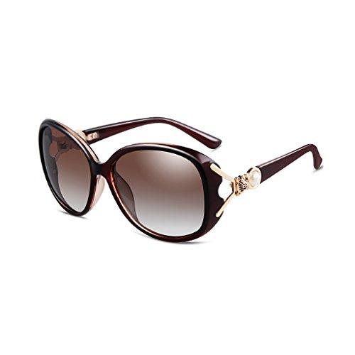 LIZHIQIANG Mode Polarisierte Sonnenbrille, Trendige Sonnenbrille, Frauen Flut Brille, Sonnenspiegel (Farbe : Tea Box Gradient Tea)