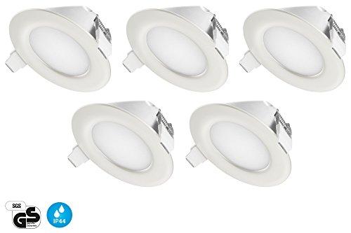 TEVEA - IP44 LED Spot Encastrable | Aussi pour Salle de Bains | 4W 230V | Lot de 5 Spots (Blanc Neutre)