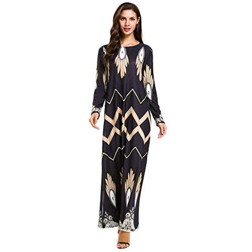 AIni Damen Muslimische Kleider,Elegante Frauen Muslimischen Druck Lose Langarm Arabischen Kleid Islam Jilbab Kleid Abendkleid Hochzeit Abaya Festlich Partykleid(M,Schwarz)