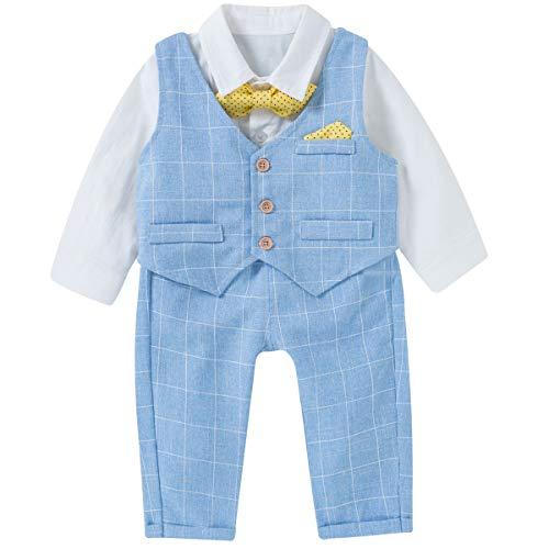 Famuka Baby Jungen Anzüge Sakkos Kinder Smoking Bekleidungsset (Blau, 73(Für 65-70cm))