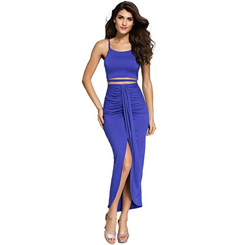 PU&PU Femmes Casual / Sorties manches Ruffled jupe deux pièces, taille haute asymétrique blue