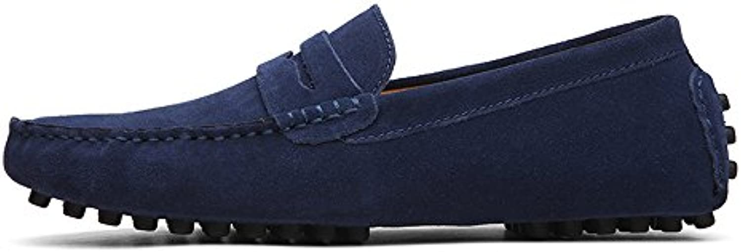 Conducción de los Hombres Penny Loafers Suede Cuero Genuino Casual Mocasines Slip-On Boat Shoes (Color : Navy,...