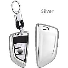 Custodia di alta qualità in plastica morbida auto chiave/supporto–Accessori universali, chiave della vettura di porta telecomando Fob con portachiavi per BMW serie 52018New X5X6X11Series/2Series Coach New 7series, Silver, L=8cm W=4cm Thickness=1.7cm