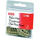 ACCO Smooth Gold Tone #2 Size Paper Clips, 100 Clips per Pack (A7072533) by ACCO Brands