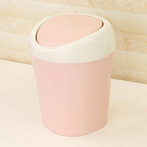 Ashcan FORWIN UK- Kreative Desktop Müll Einfach mit Deckel Kleine Haus Wohnzimmer Schlafzimmer Nacht Mülleimer Schutt Bins (Farbe : Pink)