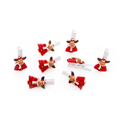 Preisvergleich Produktbild 8 Stück kleine rot weiße Mini-Holz-Weihnachts-Zier-Deko-Klammern (4,5 cm) mit RENTIER, Santa, Nikolaus, Weihnachtsmann, Elch zum Verschließen und Dekorieren, als Christbaumschmuck, Weihnachtsdeko