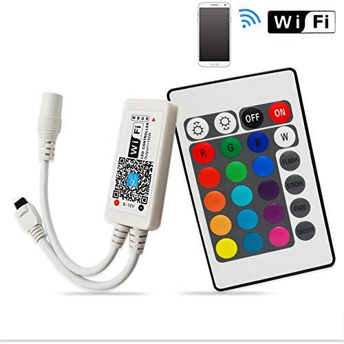 MEKEET LED controller Mini RGB Led Streifen Kontroller Wlan Fernbedienung 16 Millionen Farben,20 Dynamische Modi,Sound Aktiviert Arbeiten mit Android/IOS Wifi/App gesteuert