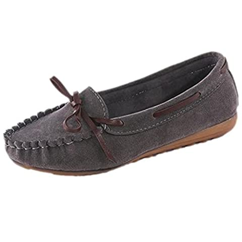 OverDose Women Loafers Suede Moccasin Flat Slip On Comfort Shoe