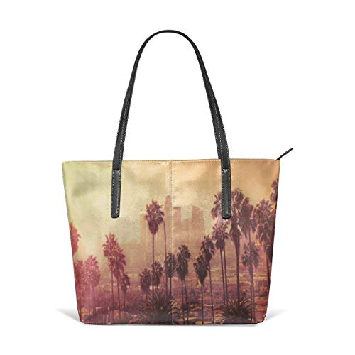 jhin Los Angeles Downtown Skyline Satchel Purses and Handbags Handtaschen Leather Tote Bags Satchel Top Shoulder Leisure Handbags Handtaschen Office Briefcase Tote