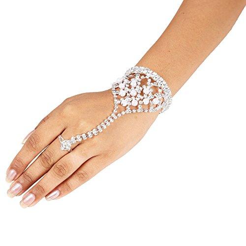 Sanjog Silver Ring Bracelet/Bangle/Hand Harness/Finger Ring Bracelet for Girls/Women
