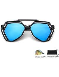 QHIU Lunettes de Soleil Réfléchissant Lentille Eyewear UV Protection  Moderne Unisexe Classique Rétro Mode Creux Polygonale 12b36f16e9a7