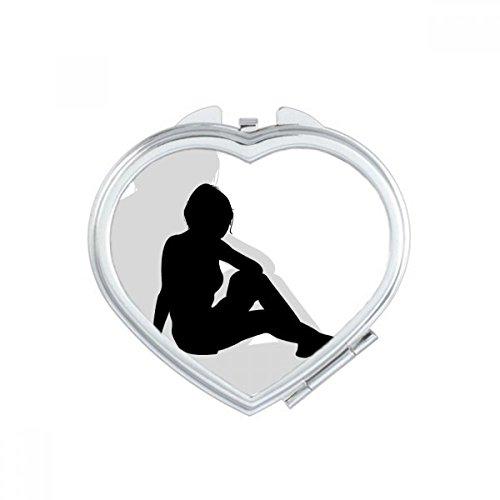DIYthinker Hot schöne Frau sitzt Silhouette Herz Compact Make-up Spiegel Beweglicher Netter Handtaschenspiegel Geschenk -