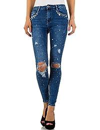 Destroyed Perlen Skinny Jeans Für Damen bei Ital-Design