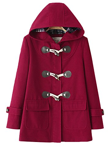 Vogue of Eden Women's Woolen Preppy Style Hooded Overcoat with Horn Button Wine Red