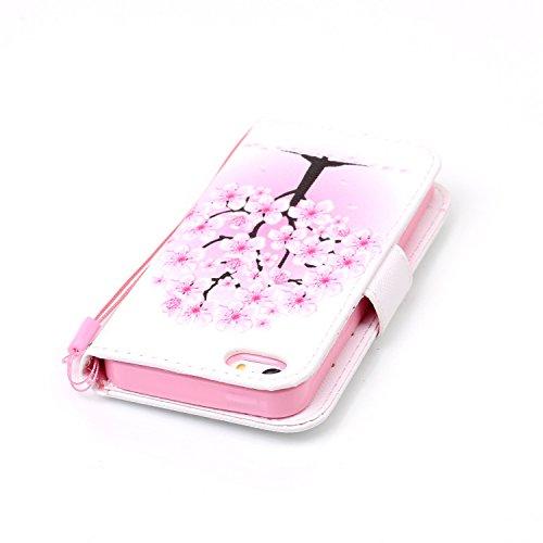 Coque Cuir Apple iPhone 5 / 5s / SE, Fermeture Aimantée de Motif Imprimé Étui Housse en Cuir Ultra-mince Avec La Fonction Stand pour Apple iPhone 5 / 5s / SE Étui +Bouchons de poussière (4OO) 1