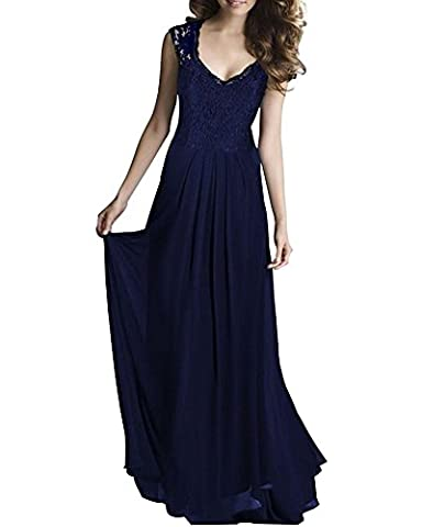 YipGrace Charmant Cocktail Party Femmes Dentelle Mousseline De Soie Dos Nu V Col Robe Maxi L Marine