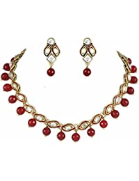 Shining Diva Red Meena Stylish Fancy Party Wear Gold Plated Kundan Necklace For Women Traditional Jewellery Set...
