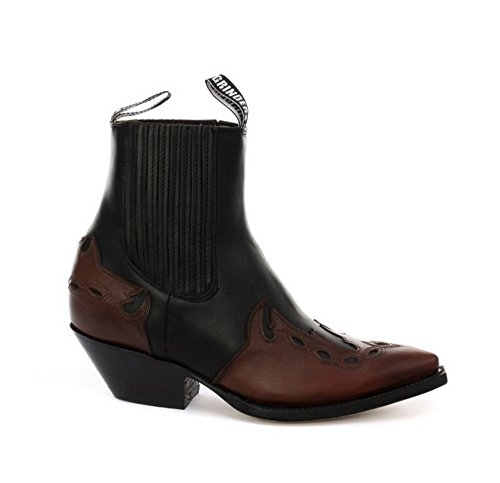 Grinders Arizonas Niedrig Unisex Leder Cuban Heel Cowboy Stiefel Schwarz 40 -