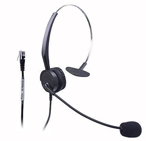 Xintronics casque téléphonique filaire Mono W/Micro avec suppression de bruit pour NEC Aspire Dterm Nortel Norstar Meridian Plantronics Polycom ShoreTel Siemens Rolm Toshiba Zultys Packet8fixe Deskphones