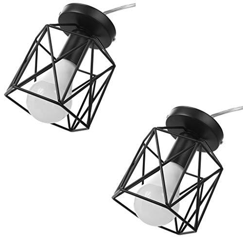 2 Stück Stehlampe (Geometrische Beleuchtung, Schöne, Schwarze retro Körbchenstil mit schwarzem Stoffschirm, Metall Tischlampe Stoffschirm, Diamond Form Nachttischlampe Stehlampe (2 Stück, E27))