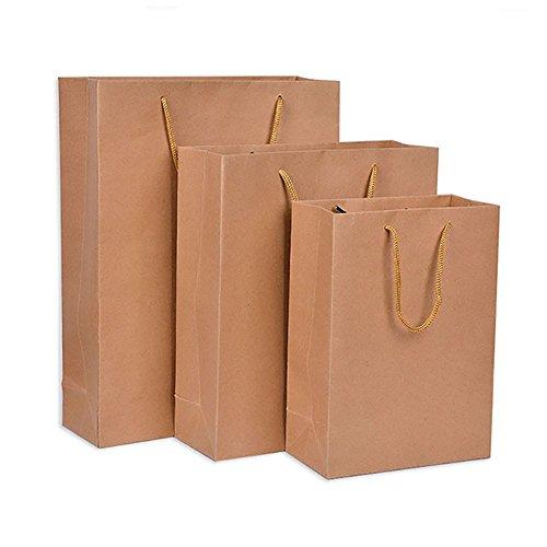 10 Braun Kraftpapier Tasche mit Griffen Party klein groß Essenträger Geschenktüten Set, 13*15*8cm