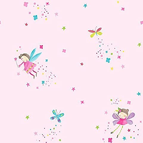 Arthouse Fairy Dust Fairies Butterfly Pattern Glitter Childrens Wallpaper (Pink 667100)