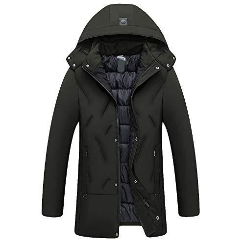 (Amphia - Langer Mantel für Männer, Männlich Herbst und Winter Mittellange Verdickung Warmer Baumwollmantel(Grün,XL))