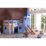 Relita BH1011114+TX5012026+TX5032026-M1 Halbhohes Spielbett ALEX mit Rutsche / Turm, Maße 210 x 113 x 220 cm, Liegefläche 90 x 200 cm, Buche massiv natur lackiert, Stoffset blau / delfin
