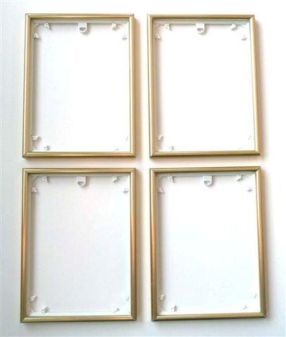 Quattro Rahmen 4 Stück Bilderrahmen 18 x 24 cm Rahmen für z.B. Schipper Malen nach Zahlen Bilder, Gold-Matt