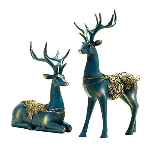 Bronze D'imitation Couple De Cerfs Européen Salon Chambre Chambre Cabinet À Vin Décoration Ornements Home Creative Craft Cadeau De Mariage Américain Promotion