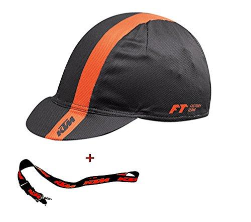 KTM SET: MTB Fahrrad CAP - Mütze - Orange - Schwarz + Key Holder - Schlüsselband
