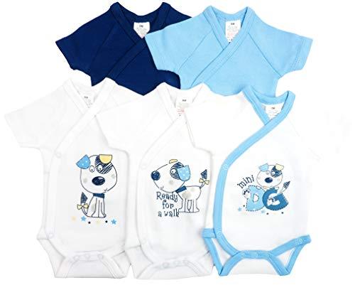 5er Pack Baby Jungen Bodys Wickelbodys Kurzarm Baumwolle Gr. 56 (1M)