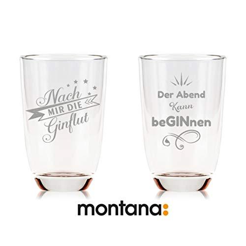 2er Set Montana GIN-Gläser aus dem Hause Leonardo - Nach mir die GINflut & Der Abend kann beGINnen - Geschenk für besten Freund/in - Lustiges Geburtstagsgeschenk - Party Mitbringsel Montana Glas