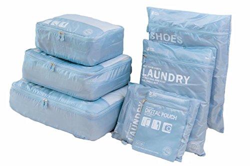 Packwürfel für Reise -7 Sets Packing Cubes Koffer-Organizer Aufbewahrungstasche wasserdicht und leichtgewichtig - Koffer Kompressionsbeutel (grau blau)
