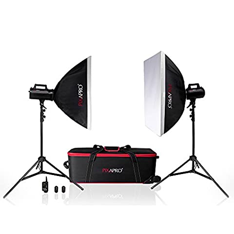 Pixapro® lumi200 400 Ws Fan Cool Strobe Bowens S Fit School Portrait Beleuchtung Set Studio Flash Kit * 2 Jahre uk Garantie * Schnelle Lieferung * UK Lager * Umsatzsteuer (Registrierte Memory Kit)