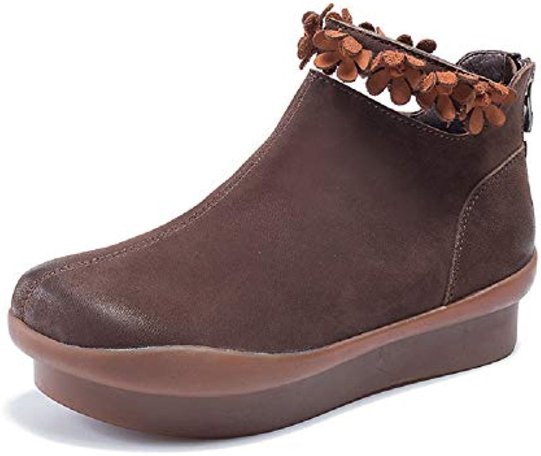 ZHRUI Flower stivali donna Zipper Flat Ankle scarpe (Coloreee   Marronee, Dimensione   EU 40) | Stile elegante  | Uomini/Donne Scarpa