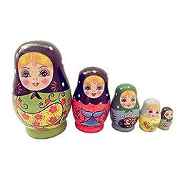 ULTNICE Bambola russa matrioska Bambola di legno Matryoshka 5 pezzi