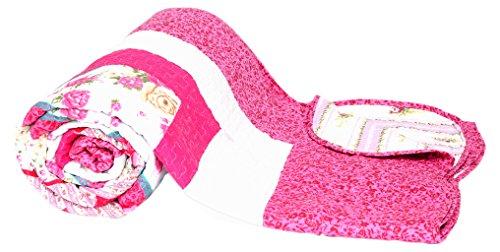 1001 Wohntraum T414 Quilt O pink Blumen, 180 x 220 cm, Plaid Tagesdecke, Patchwork Landhau