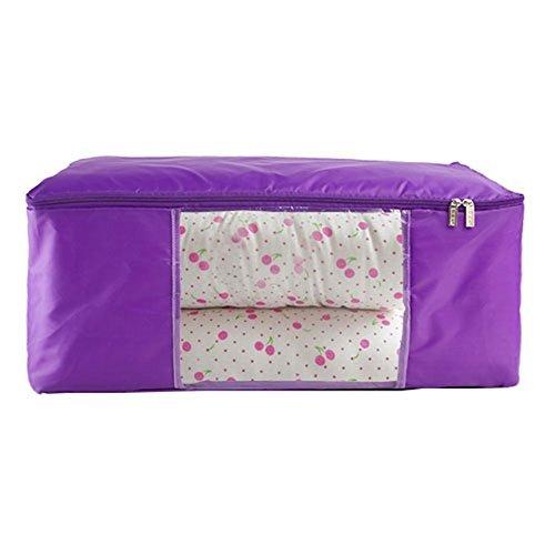 Preisvergleich Produktbild unimango Jumbo durchsichtselement Oxford Quilt Bag Wasserdichte faltbare Kleiderschrank Organizer Kleidung Spielzeug Laundry Storage Wäschekorb Staubbeutel platzsparend Boxen, Oxford, violett, XL: 70x45x30CM