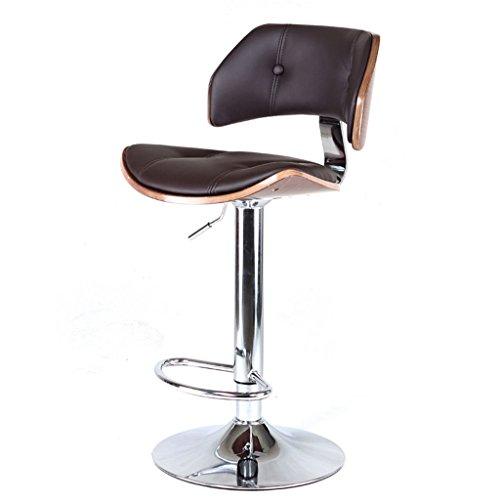 GJM Shop tabouret pivotant à 360 ° réglable en hau Noir / Marron Mode Personnalisée Similicuir + Coussin Éponge Chaise De Bar Bois Massif Tabouret De Bar Bar Chaise Pivotante Européen Peut Soulever Chaise Haute --- Sponge + Leatherette / surface de chaise en bo ( Couleur : Noir )