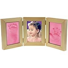 Marco de fotos plegable 2huellas de mano y pie de madera para bebé Photo Kits de moldeo Beau marco para regalo Recuerdo la nacimiento del Baby
