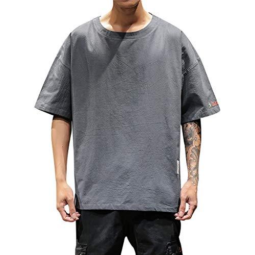Tops Herren Sommer Shirts Basics Baumwolle Tank Tops Fitness Running Polo Bluse Strand Hemden Herbst 2019 Neu Qmber, Mode, Reine Kurze Ärmel komfortable Tasche Bluse Oben/Grau,4XL -