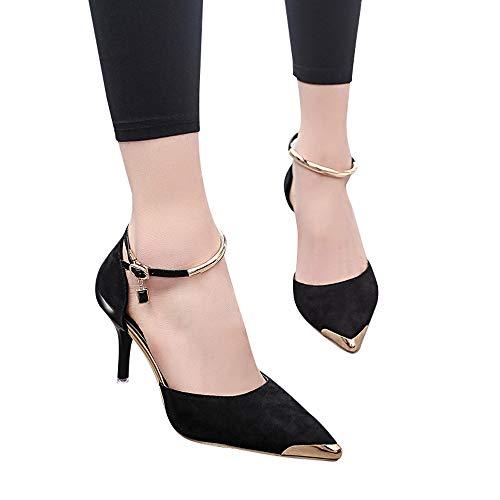 Beikoard moda donna flock punta a punta sandali alla caviglia scarpe con tacco alto sottile partito singolo(nero,37)