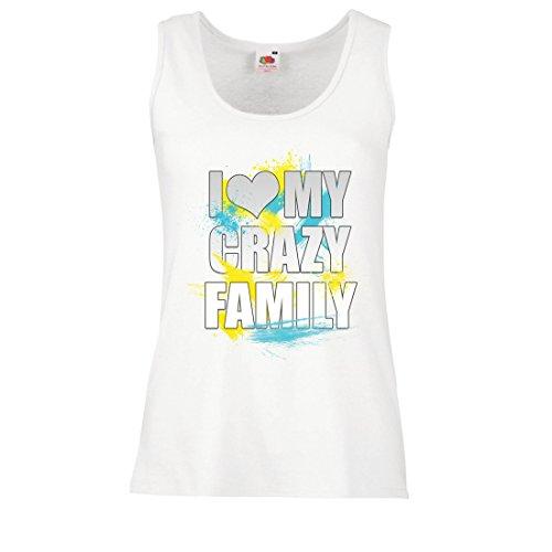 lepni.me Serbatoio,Maglietta Senza Maniche Femminile Adoro la mia Famiglia Pazza, Le Migliori Idee Regalo di Tutta la Famiglia Bianco Multicolore