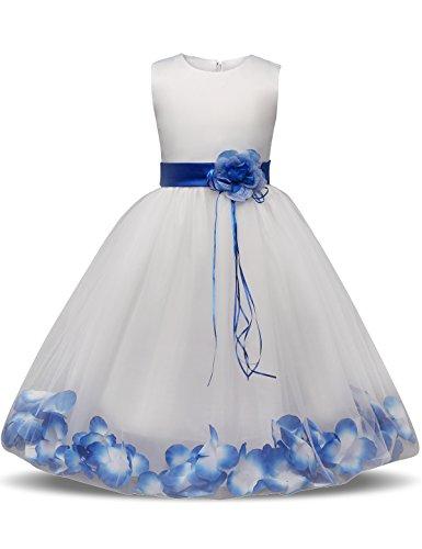 NNJXD Mädchen Tutu Blütenblätter Schleife Brautkleid für Kleinkind Mädchen Größe 3-4 Jahre Großes Blau