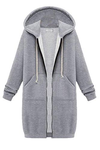 Les Femmes Décontracté Toison Pleine Fermeture Sweats À Capuche Vêtements Impers Parkas Grey
