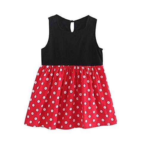 Nädchen Kleider Hirolan Kinder Abendkleider Baby Kinder Mädchen Ärmellos Eins Stück Kleid Punkte Drucken Bowknot Tutu Sommer Kleider Schön Rot Party Sundress (Rot, 90cm)