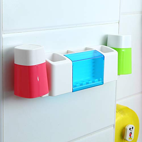 PajCzh Zahnbürstenhalter Saugwand Zahnbürstenhalter Mund Tasse Waschen Set Frei Stanzen Badezimmer Hängen Wand Einfache Zahnpasta Rack, B, 2 (Rahmen Waschen Mund)
